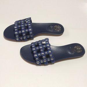 Vince Camuto Ellanna Leather Studded Slide Sandals